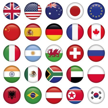 zwitserland vlag: Set van ronde Vlaggen wereldtop staten Stock Illustratie