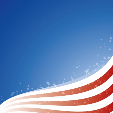 red white blue: Vector background USA flag with light and stars Illustration