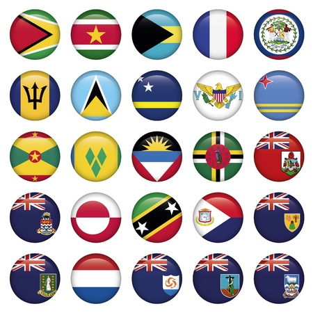 guadeloupe: American Flags Soft Round Buttons