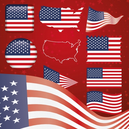 United States of America symbol set Vector