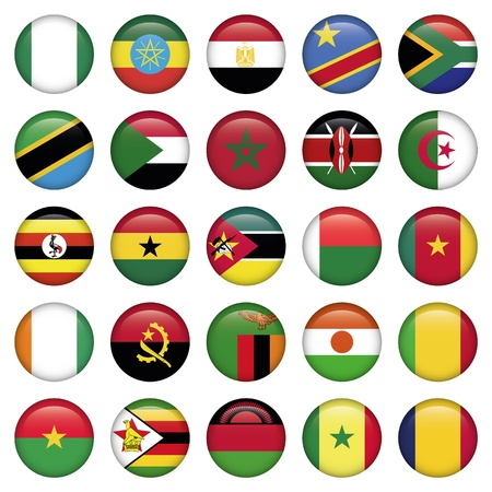 sudan: African Flags Round Icons