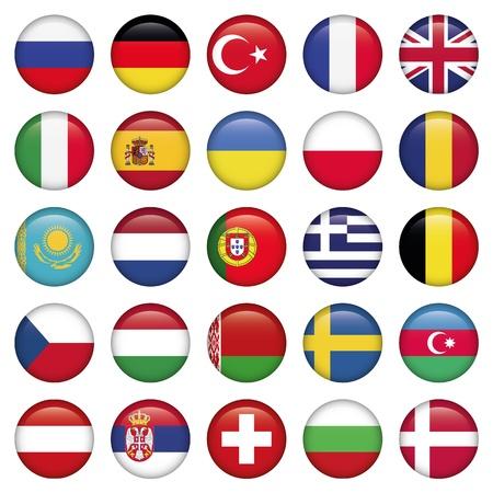 Icônes ronde européenne Drapeaux Vecteurs