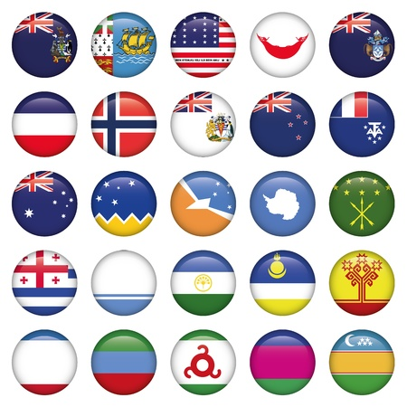Antarctic and Russian Flags Round Buttons Stock Vector - 19746838