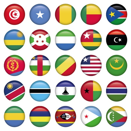 Africa Flags Round Buttons Vector