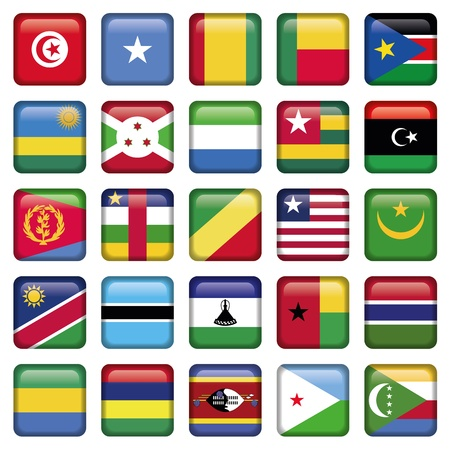 Africa Flags Square Buttons Vector
