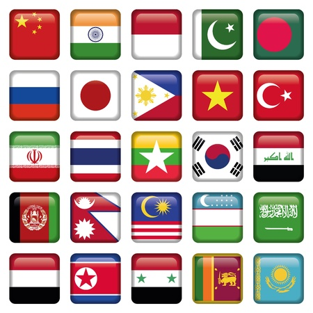 Asia Flags Square Icons Vector