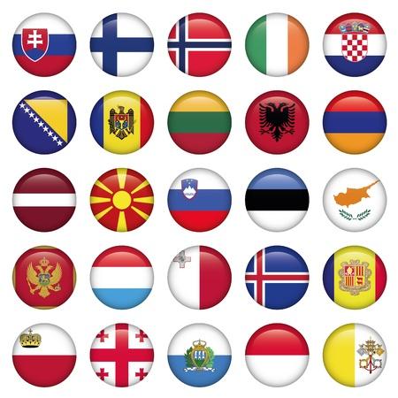 malta cities: European Buttons Round Flags Illustration