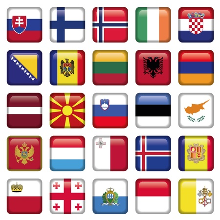 malta cities: Europe Buttons Square Flags