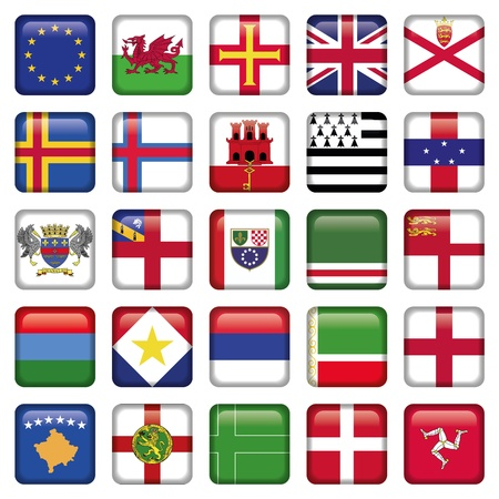 Set of European Square Flag Icons Vector
