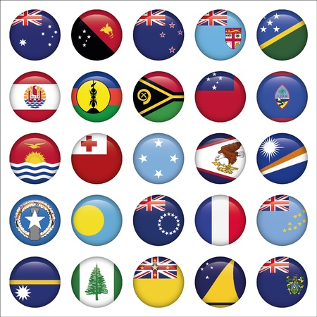 Set of Australian, Oceania Round Flag Icons Vector