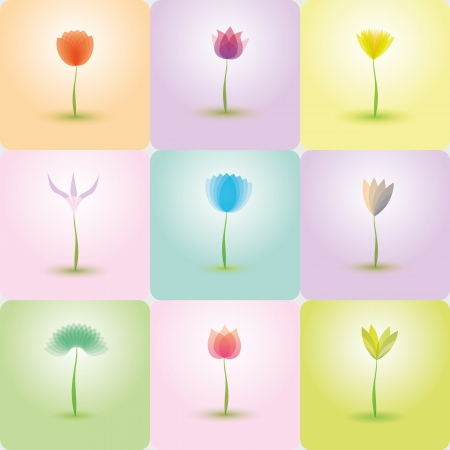 Flowers icon set, nature background Vector