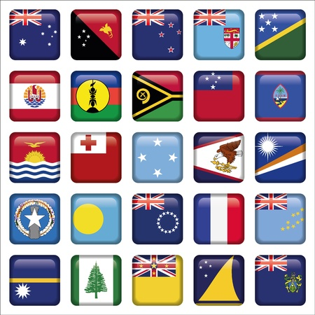 Set of Australian, Oceania Squared Flag Icons Vector