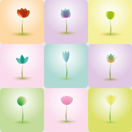 Colorful Flowers, abstract Icons for background Vector