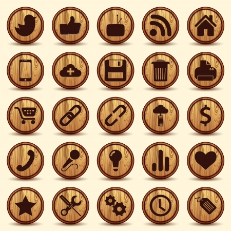 social media icons: Social Icons, wood texture Buttons Set Illustration