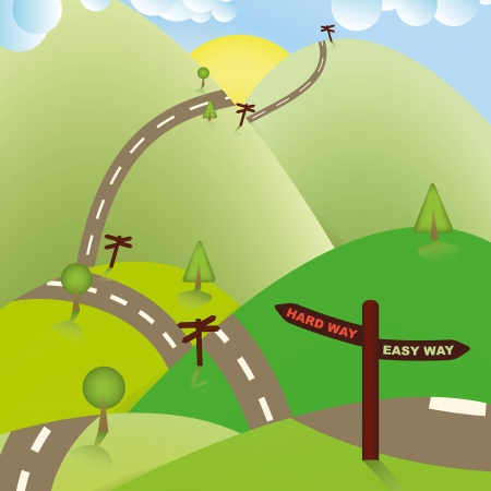 easy way: Road Sign Ways, Hard or Easy  Business Concept