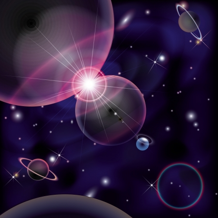 Cosmic Bright Background, space planets collision Vector
