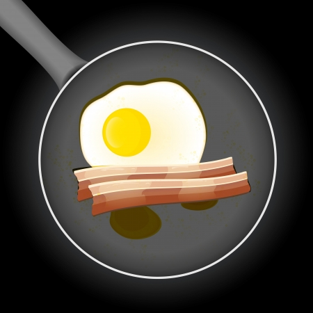 fryer: Fried egg and beacon in a frying pan with oil Illustration