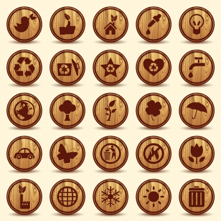 wooden houses: Wood Ecology icons set  Green Environment Symbols