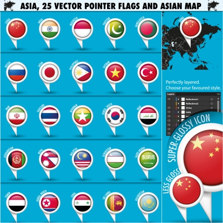 map of asia: Asia Map and flags pointer icons set1