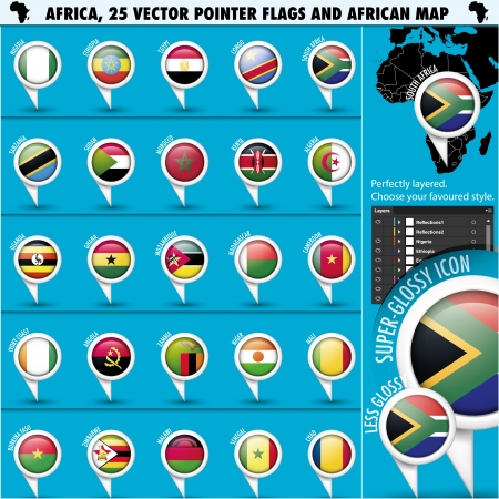 sudan: Africa Pointer Flag Icons with african Map set1