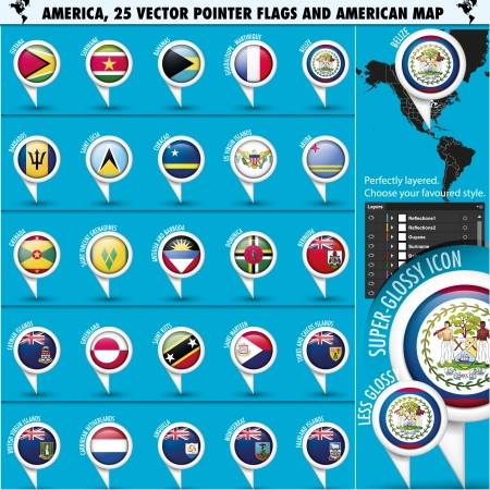 guadeloupe: America Pointer Flag Icons with american Map set2
