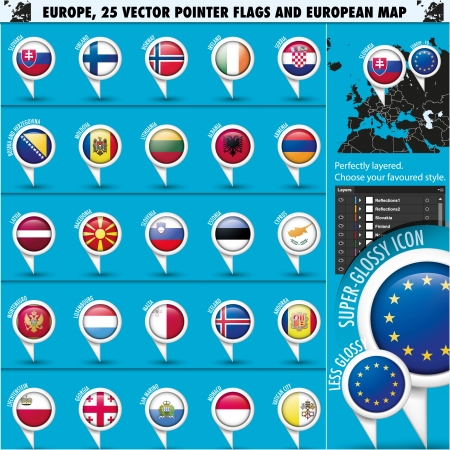 European Icons Round Indicator Flags and Map Set2 Vector