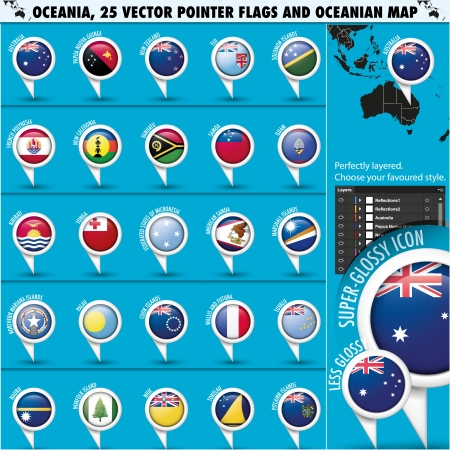 Australian, Oceania Round Pointer Flag and map Vector
