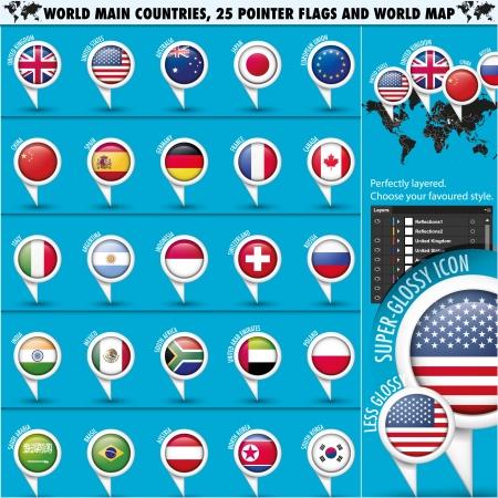 banderas del mundo: Banderas Ronda puntero mejores del mundo 25 estados set1