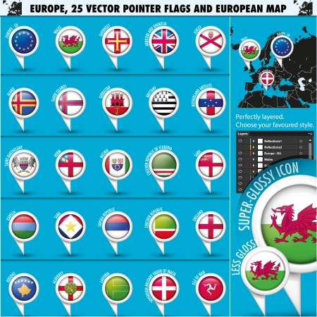 European Icons Round Indicator Flags and Map Set3  photo