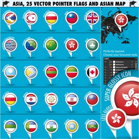 Asia Map and flags Pointer Icons set3 Vector