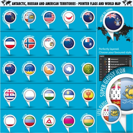 Antarctic, Russia America Territories Pointer Flag Vector