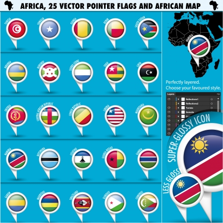 Africa Pointer Flag Icons with african Map set2 Vector