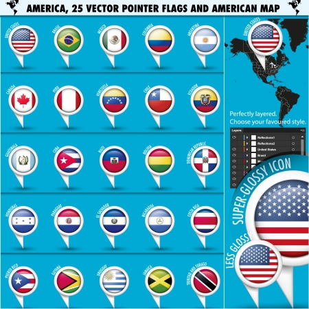 republic of ecuador: America Pointer Flag Icons with american Map set1 - united states USA inside, vector illustration in .CS and .EPS10. Contain transparency.