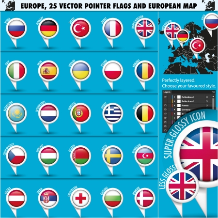 European Icons Round Indicator Flags and Map Set1. Vector