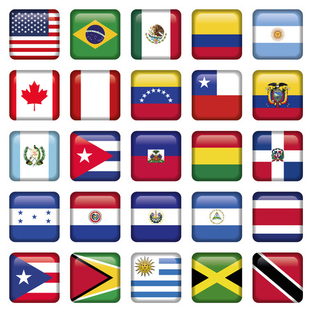 republic of ecuador: American Flags squared Icons, Zip includes 300 dpi JPG, Illustrator CS, EPS10. Vector with transparency.