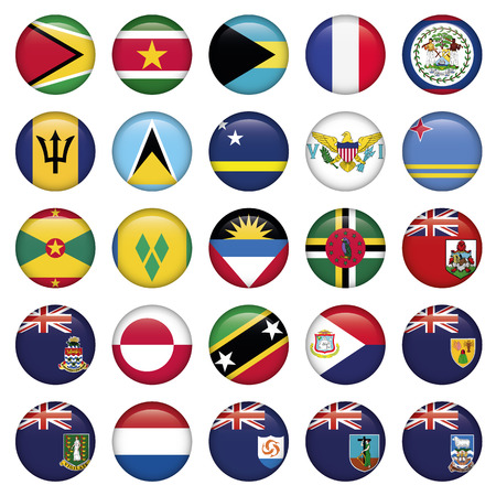 cs: American Flags Soft Round Buttons, includes 300 dpi JPG, Illustrator CS and EPS10. Vector with transparency. Illustration