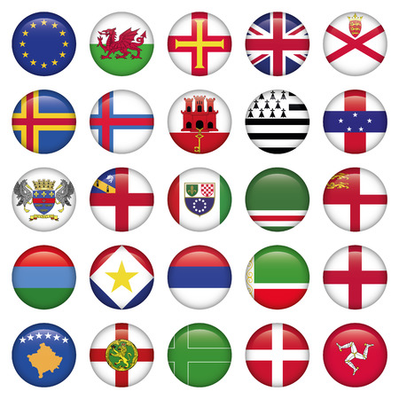 isle: Set of European Round Flag Icons, Zip includes 300 dpi JPG, Illustrator CS