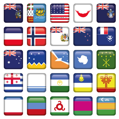 Antarctic and Russian Flags Square Buttons, Zip includes 300 dpi JPG, Illustrator CS Stock Vector - 24193707