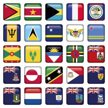carribean: Banderas de Am�rica botones suave Squared, incluye 300 dpi JPG, Illustrator CS