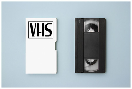 Clear vhs cassete design houses mock up. Retro tv videotape cover template. Analog movie casette box copy with sticker