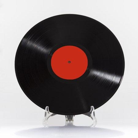 Black vinyl record isolated on white background Stock Photo
