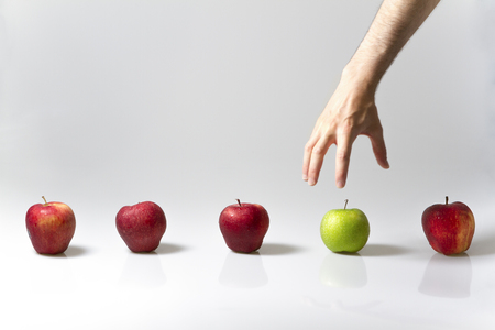 Choose different apple Stock Photo