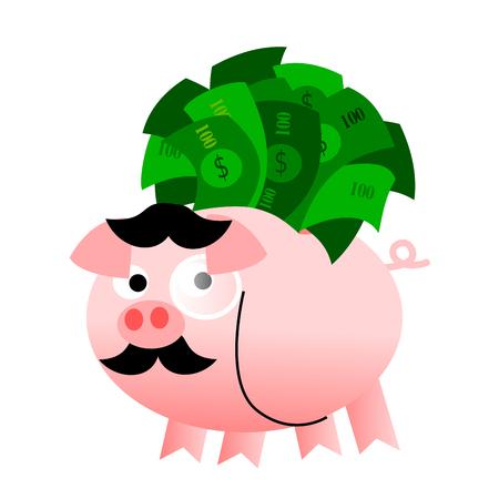 Piggy bank full of billets Stock Photo