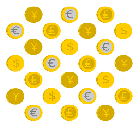 Coin pattern with different currencies symbols Stock Photo