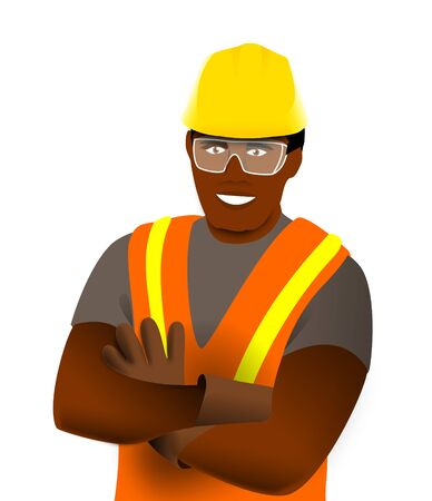 Illustration of a worker with his reflective vest, helmet and crossed arms