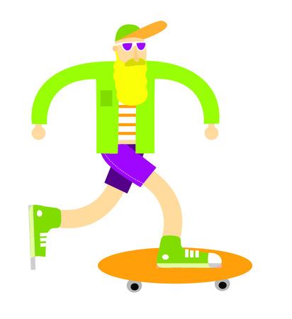 Funny illustration of a hipster skater
