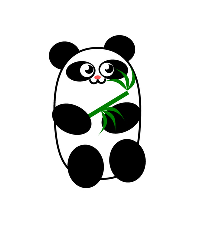 Illustration of a panda bear with a bamboo branch Vettoriali