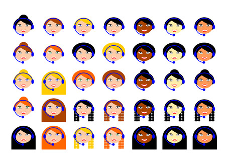 A set of icons of faces of girls telephone operators