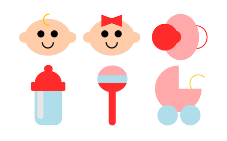 A set of six icons about babies
