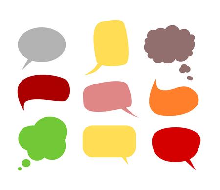 A set of nine comics communication bubbles
